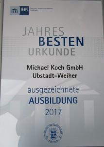 Urkunde Jahres Beste von der IHK für eien ausgezeichnete Ausbildung