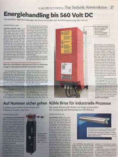 Fachzeitung Produktion berichtet über KSM 4.0